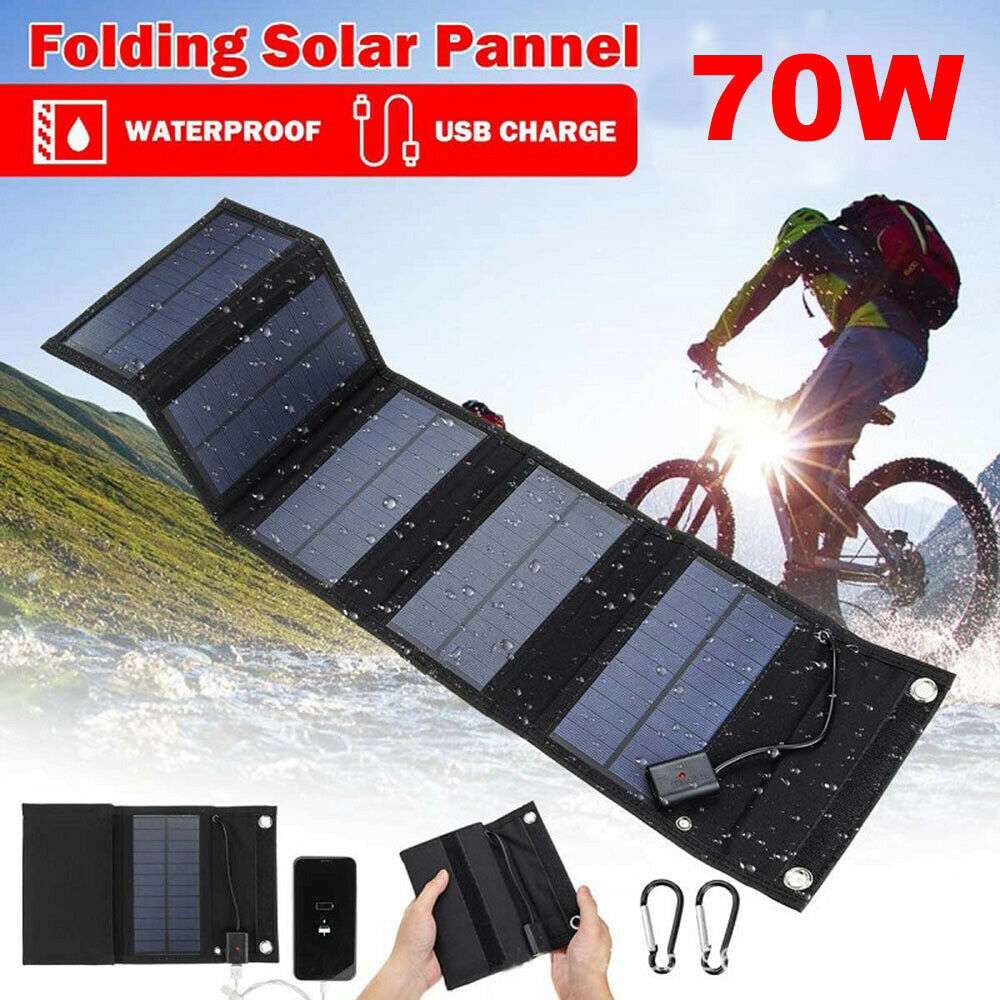 70W USB Solar Panel Folding Portable Power Charger Camping Travel Phone Charger