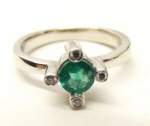 Vtg-18K-White-Gold-Natural-Emerald-Diamond-Ring-Sz-5-75-Signed-BITA-Square-Cross