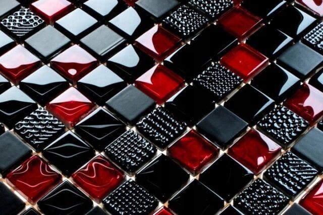 MUSTER Naturstein Glas Mosaik Fliesen Rot Braun 48x48x8mm