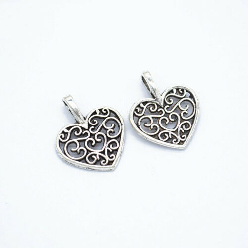 100 Pcs Silver Hollow Heart Metal Charms Pendant DIY for Jewelry Making Necklace