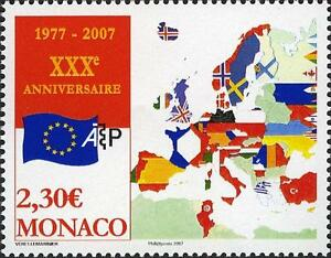 Monaco Ca 2007 European Map Flags Carte Europe Eu Drapeaux 1v Mnh