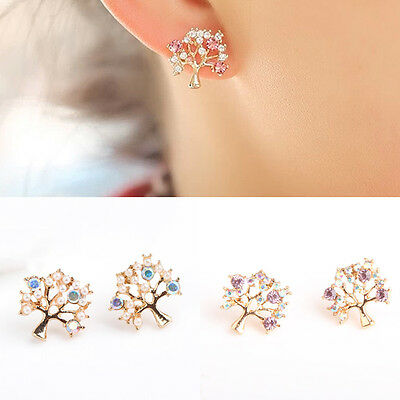 Fashion Girl's Elegant Sweet Cute Rhinestone Pearl Small Tree Ear Stud Earrings