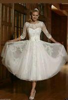 New Vintage Tea Length White/Ivory Lace Wedding Dress Size 6-18 UK