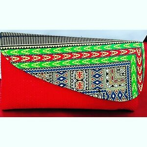 Handmade-Authentic-Africa-Kenya-Maasai-foldover-red-green-multicolor-Clutch-Bag