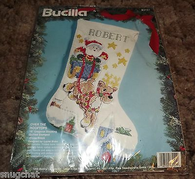 "Bucilla Over the Rooftops 18"" Diagonal Stocking Quilted Stamped Cross-Stitch '94"