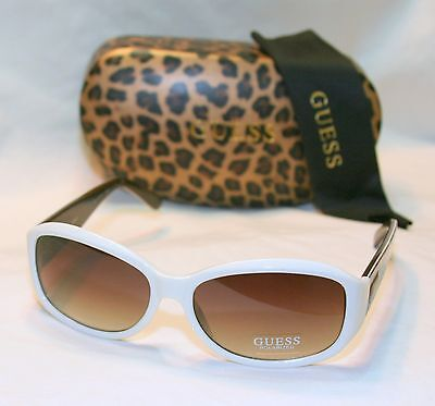 Genuine GUESS GUP2016-WHT-34-58 Women/'s Rectangle Los Angeles Sunglasses WHITE