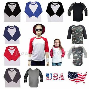 Kids-T-Shirt-Raglan-Baseball-Jersey-Casual-Plain-Toddler-Boys-Girl-Unisex-Tee