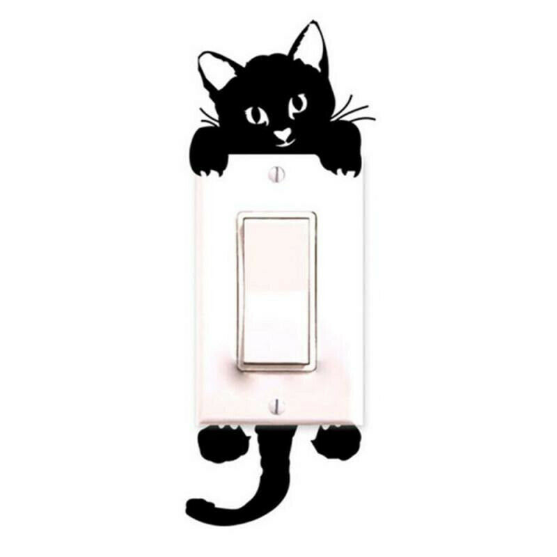 Black Cute Cat Light Switch Decal Wall Stickers Baby Room Sticker Wallpaper For Sale Online