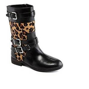 47df9a449e45 Image is loading antonio melani paxton buckle black leopard print calf jpg  299x300 Black leopard print