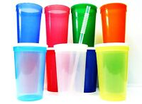 36 - Large Plastic Drinking Glasses Lids Straws Mix Translucent Colors Mfg Usa