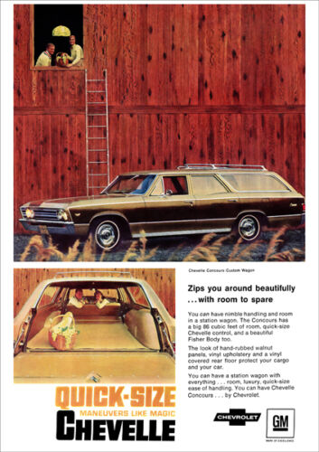 CHEVROLET 67 CHEVELLE STATION WAGON RETRO A3 POSTER PRINT FROM ADVERT 1967