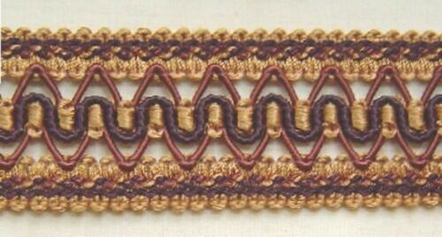 "1.5/"" Gimp Trim Antique Gold Chocolate Brown matched tassel fringe Cord Bullion"
