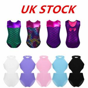 UK-Kids-Gymnastics-Leotards-Girls-Jumpsuits-Ballet-Dancewear-Unitards-Costumes