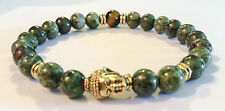 Golden Buddha/Green Copper Jasper/Tiger's Eye Beaded Stretch Bracelet Men/Women