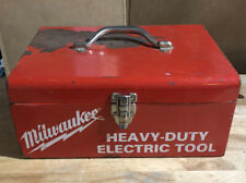 Vtg Milwaukee Tool Box Heavy Duty Electric Tool Box Red Metal Storage Case