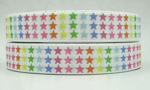 "birthday cake hair bows 7//8/"" RAINBOW STARS Grosgrain RIBBON 1m x 22mm width"