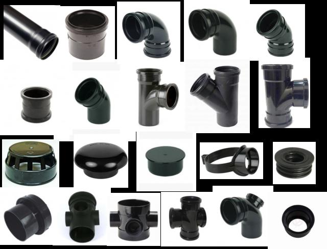 "4/"" Black Soil Double Socket 45 Degree Bend Pushfit Waste 110mm Stack Vent Pipe D"