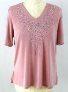 C-COLLECTION-Bead-Embellished-Top-14-16-Pink-Slinky-Short-Sleeve-Art-Deco-Autumn
