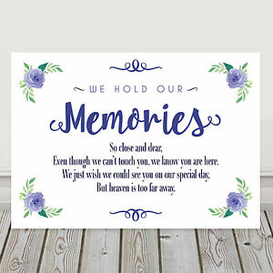 Image Is Loading Navy Blue Wedding Memorial Memory Table Sign Poem