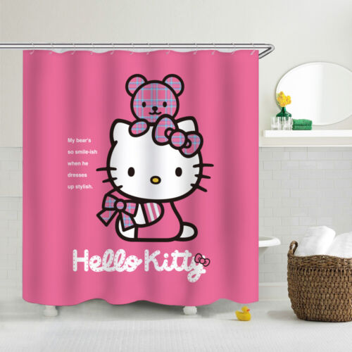 "Hello Kitty Fabric Waterproof Shower Curtain Bathroom Curtain WithHooks Gift 70/"""