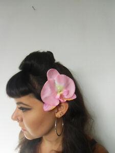Pince clip barette cheveux fleur orchidee orchidees tissu rouge pinup retro