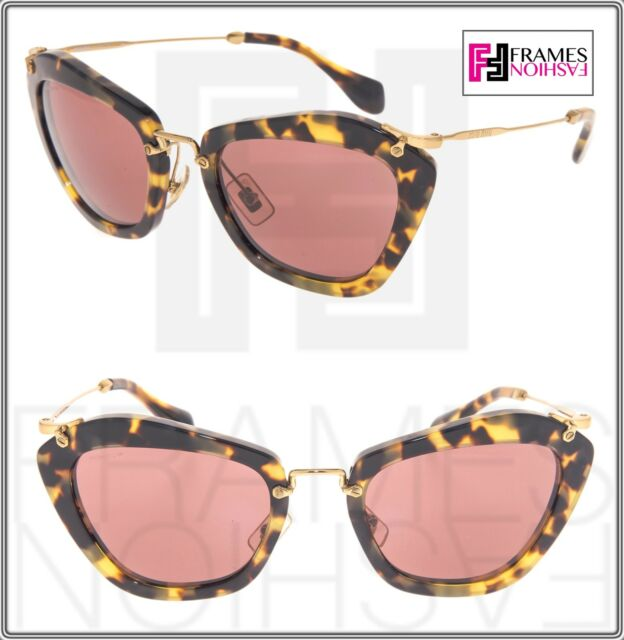 24ba662d16a9 MIU MIU NOIR 10N Brown Havana Pink Mirrored Gold Sunglasses 7S0-0A0 MU10NS