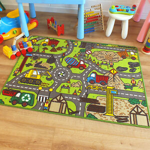 Superb Childrens Kids Rug Construction Site Road Map Play