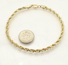 "7""  Solid All Shiny Reversible Bizmark Bismark Bracelet Real 10K Yellow Gold"