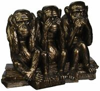 The Hear-no, See-no, Speak-no Evil Monkeys Highly Detailed Statue In Faux Bronze