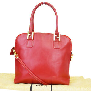Authentic-FENDI-FF-Logo-2Way-Shoulder-Bag-Leather-Red-Gold-tone-Italy-69BP473