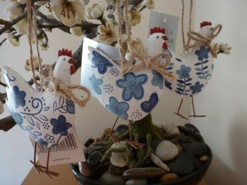 Gisela graham blanc tin poule avec fleurs bleu pâques décoration 8cm