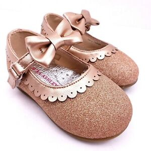 Laura Ashley Toddler Girls Size 7 Rose Gold Sparkle Bow Strap Dress Shoes