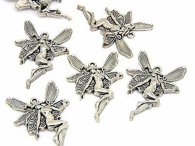 Tibetan Silver 23mm Fairy Angel Charms Guardian Pendants Jewellery i12 25 Pcs