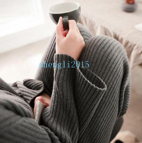 Chic Damen Cashmere Wolle Strickpullover Strickjacke Hose weitem Bein Anzug