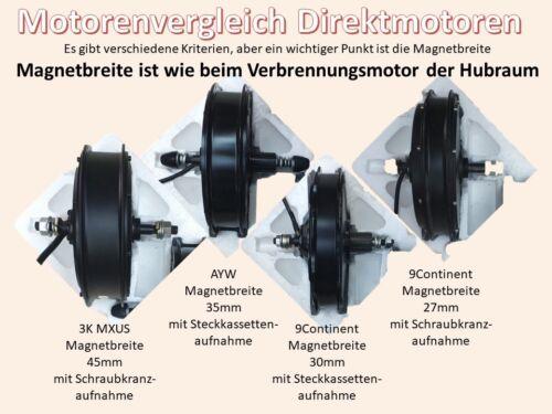 no conversion kit E-Bike Motor 9 continent RH205 45km//h in 26 27,5 or 28 inch