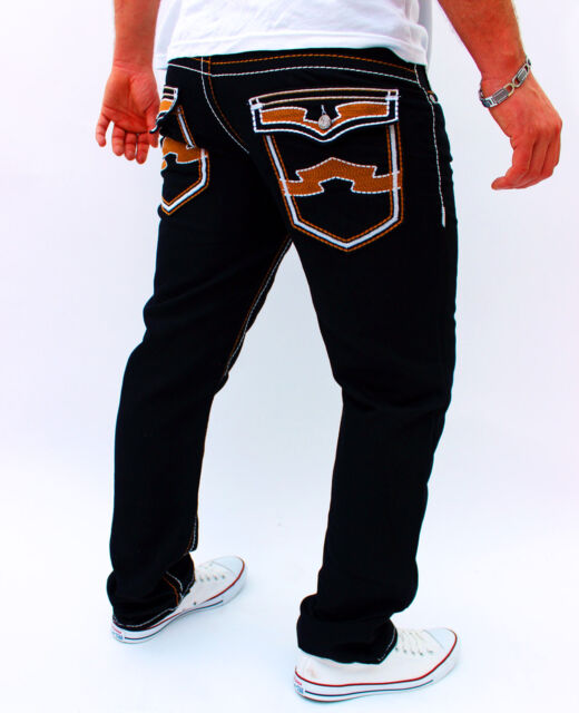 Herren Jeans Designer Hose Cargo Style SCHWARZ dicke Naht Kosmo Lupo Style NEU