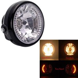 Moto-Faro-Fanale-Anteriore-LED-Indicatore-Luce-per-Harley-Bobber-Ambra