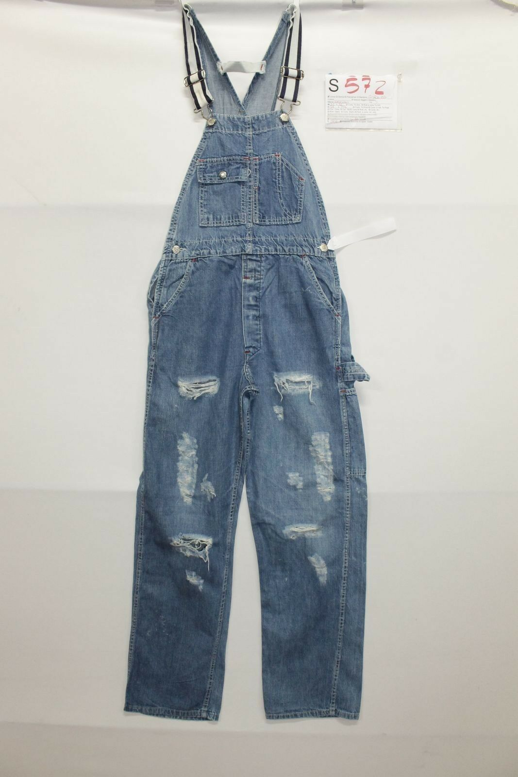 Dungarees MADE WELL (Cod.S572)size S W32 L32 Jeans Short used vintage
