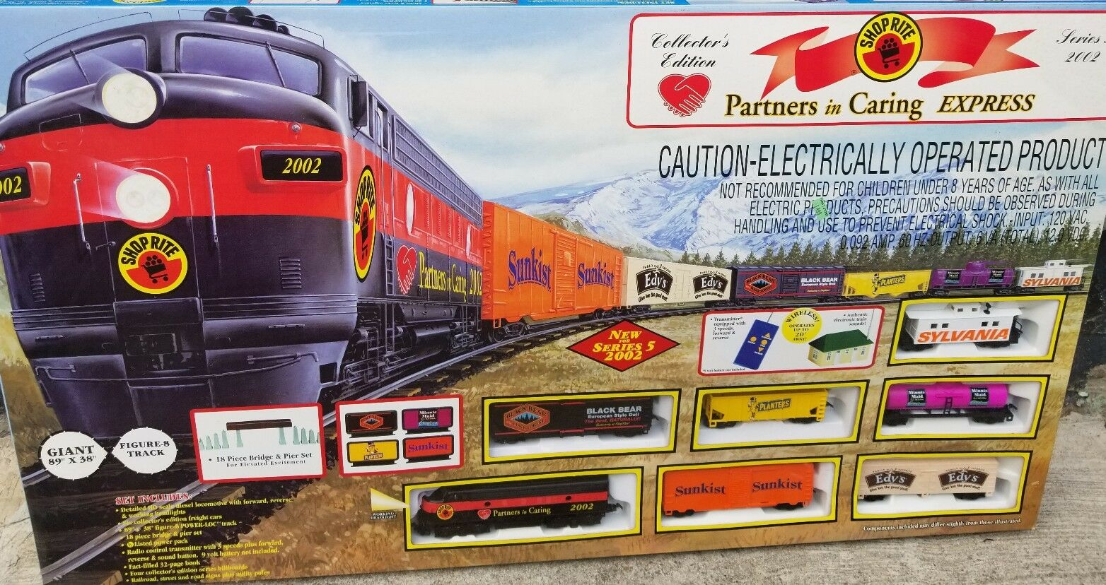 NEW ELECTRIC TRAIN SET HO SCALE SHOP RITE PARTNER'S IN CARING EXPRESS 2002