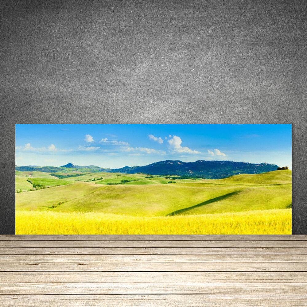 Crédence de cuisine en verre Panneau 125x50 Paysage Montagnes Champs