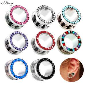 2pc-Ear-Gauges-Stainless-Steel-Clear-CZ-Gem-Tunnels-Screw-Fit-Ear-Plugs-Piercing