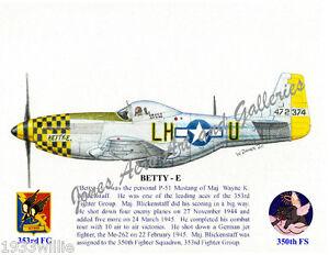 353FG-Maj-Wayne-Blickenstaff-039-s-P-51-034-Betty-E-034-Giclee-prints-by-Willie-Jones-Jr