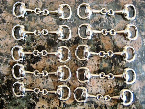 10 pcSilver Plated Equestrian Snaffle Horse Bit Charm, DIY Wholesale Hi Quality