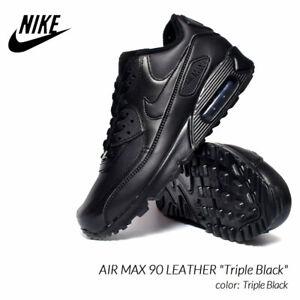 Nike Air Max 90 M-90 Cuero Triple Negro Hombre Talla 9.5 Nuevo Con ...