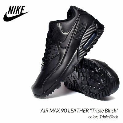 NIKE AIR MAX 90 M-90 LEATHER TRIPLE BLACK MEN SIZE 12 NEW With BOX! | eBay