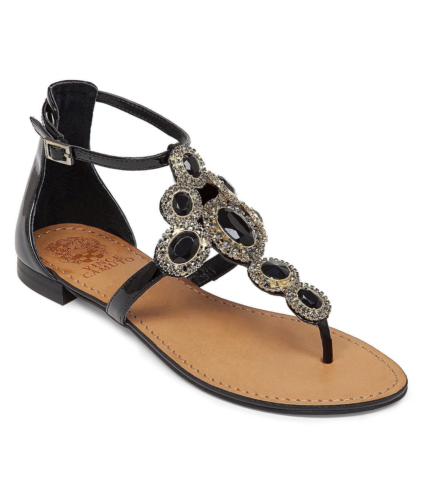 Vince Camuto Manelle Jeweled Sandals Women Sizes 6-9 Black Kid Patent VC-MANELLE