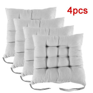 Silver Luxury Pack of 4 Seat Chair Pad with Ties for Dining Chair Super Soft Home Office Garden Seat Pads with Straps 38 x 38 cm Pack of 4 15 x 15 Inches