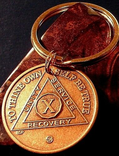 Alcoholics Anonymous AA 10 Year Bronze Keychain medallion coin Token key chain