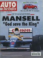 AUTO HEBDO n°787 16/07/1991 GP ANGLETERRE OPEL ASTRA GSI 16V