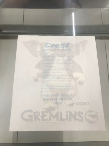 RARE T-shirt Decal Gremlins Crest PROMO... transfert Vintage 1984 Gizmo iron-on